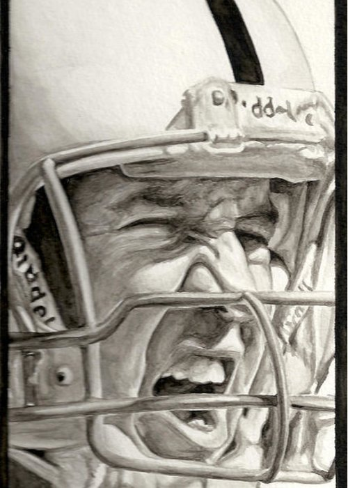 Football Greeting Card featuring the painting Intensity Peyton Manning by Tamir Barkan