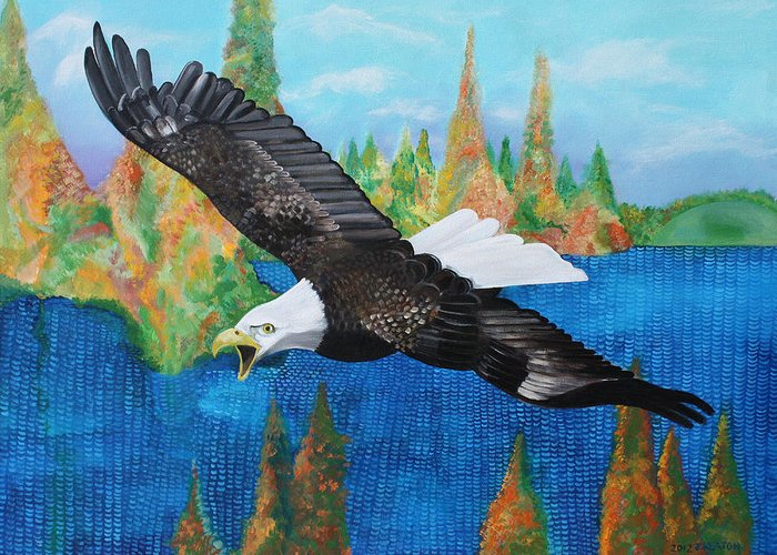 Eagle Greeting Card featuring the painting Into The Future by John Keaton