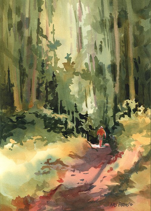 Kris Parins Greeting Card featuring the painting Into The Wild by Kris Parins