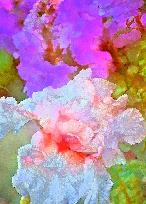 Floral Greeting Card featuring the photograph Iris 60 by Pamela Cooper