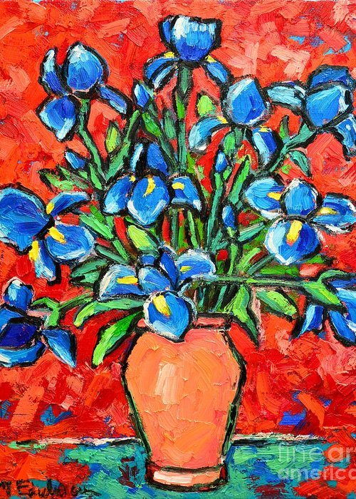 Iris Greeting Card featuring the painting Iris Bouquet by Ana Maria Edulescu