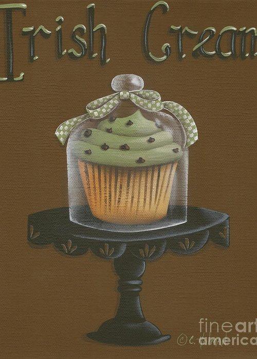 Art Greeting Card featuring the painting Irish Cream Cupcake by Catherine Holman