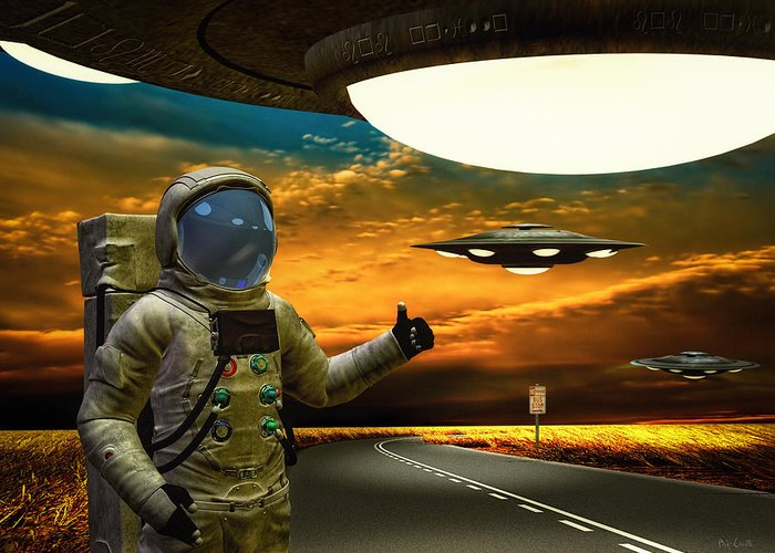 Astronaut Greeting Card featuring the photograph Ironic Number Four - Hitchhiker by Bob Orsillo