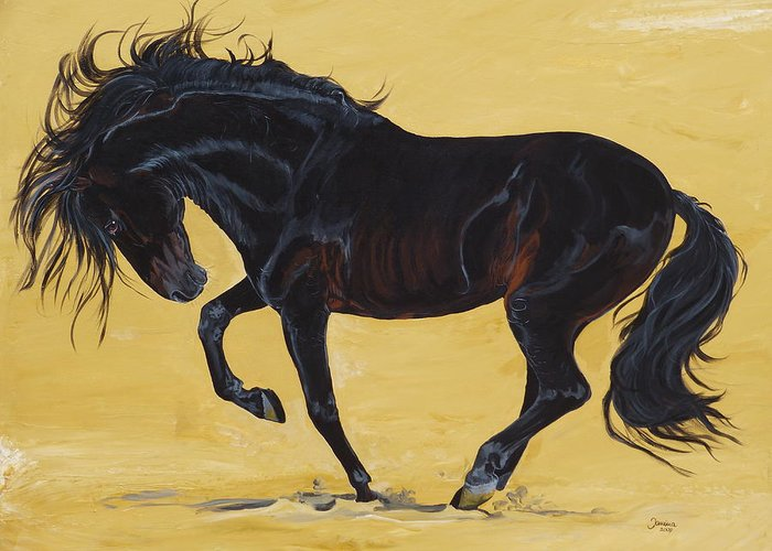Horse Original Painting Greeting Card featuring the painting Irresistible by Janina Suuronen