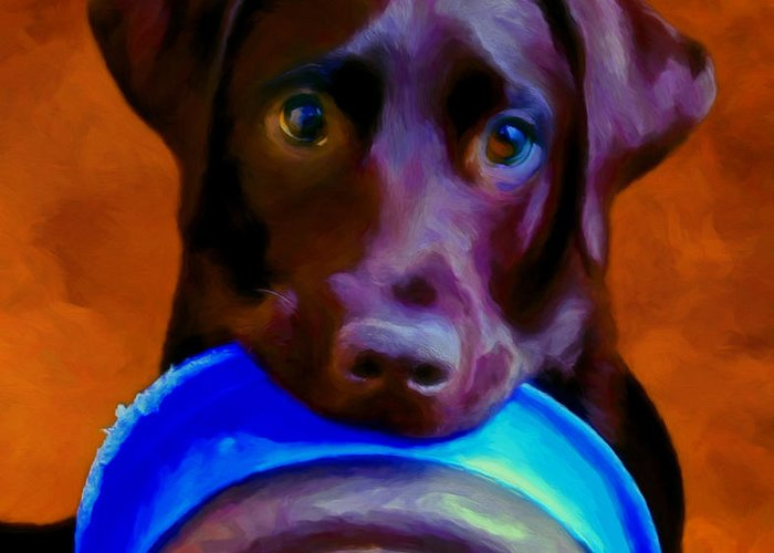 Black Lab Greeting Card featuring the painting Is It Time Yet? by Michael Pickett