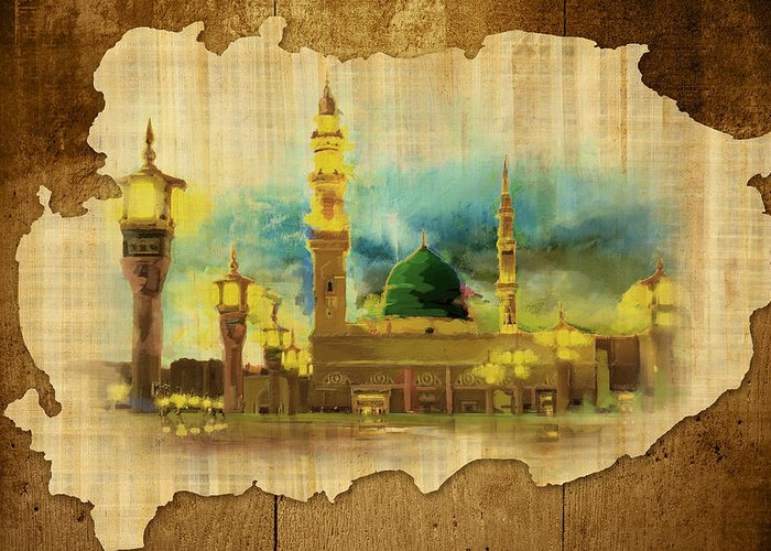 Islamic Greeting Card featuring the painting Islamic Calligraphy 035 by Catf