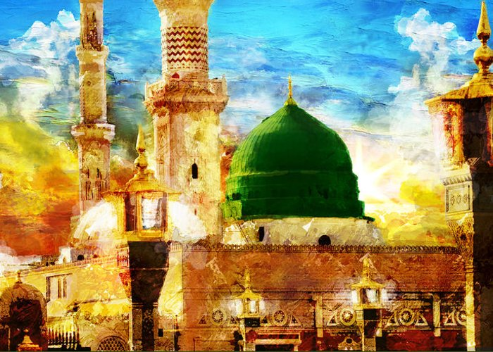 Islamic Greeting Card featuring the painting Islamic Paintings 005 by Catf