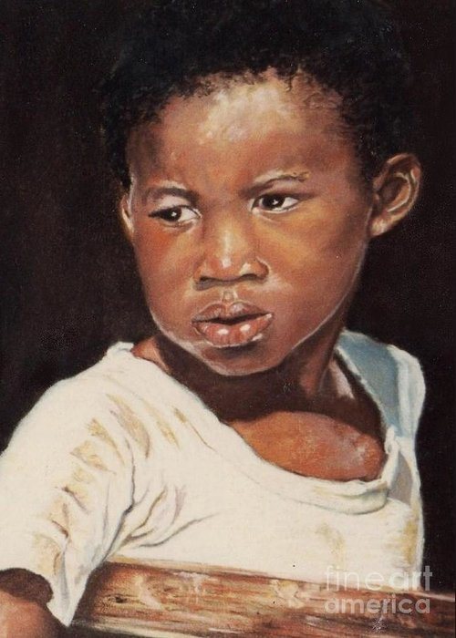 Art Greeting Card featuring the painting Island Boy by John Clark