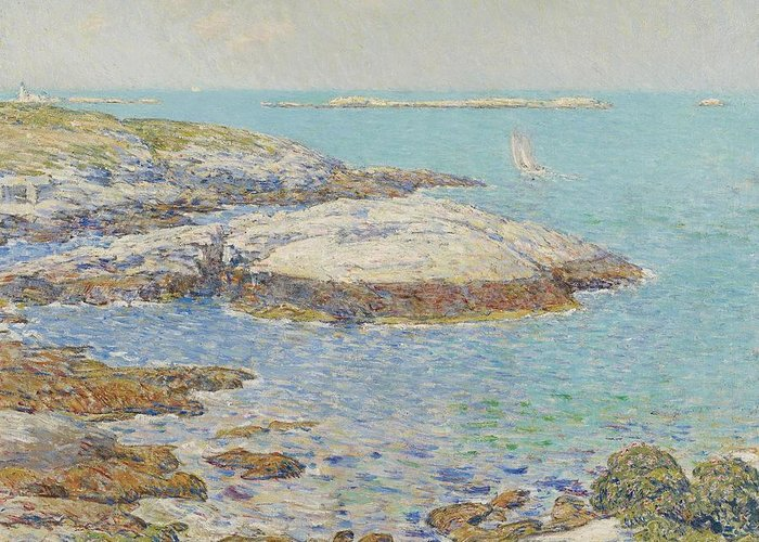 New England; America; American; Landscape; View; Coast; Coastal; Seascape; Us; Usa; United States; New Hampshire; Maine; Summer; Summertime; Isles Of Shoals; Island; Islands; Sailing Boat; Sails; Lighthouse; Rocks; Rocky; Shore; Shoreline; Impressionism; Impressionist; Sea Greeting Card featuring the painting Isles Of Shoals by Childe Hassam