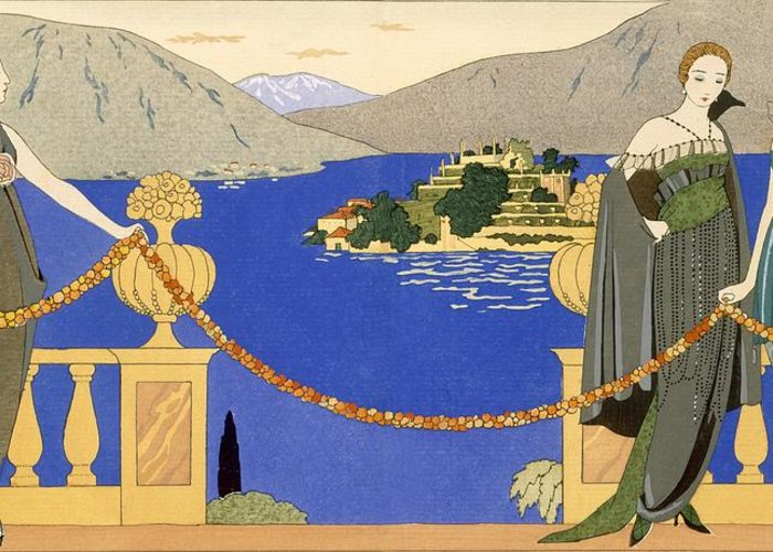 Stencil Greeting Card featuring the painting Isola Bella by Georges Barbier