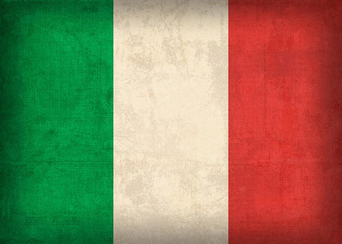 Italy Flag Vintage Distressed Finish Rome Italian Europe Venice Greeting Card featuring the mixed media Italy Flag Vintage Distressed Finish by Design Turnpike