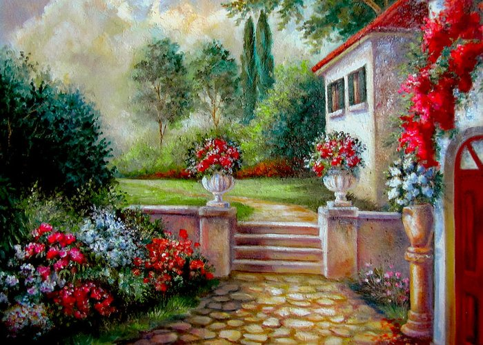 Fine Art Greeting Card featuring the painting Italyan Villa With Garden by Regina Femrite