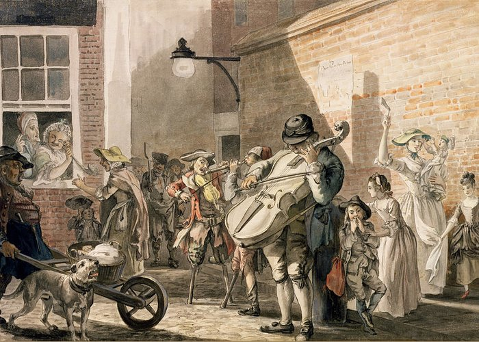 Travelling Players Greeting Card featuring the drawing Itinerant Musicians Playing In A Poor by Paul Sandby