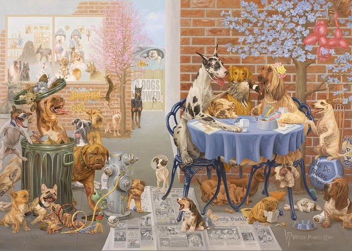 Dog Greeting Card featuring the painting It's A Dog's World by Victor Powell