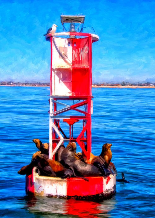 Newport Harbor Greeting Card featuring the painting It's Lonely At The Top by Michael Pickett