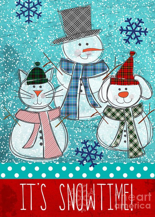Snowman Greeting Card featuring the painting It's Snowtime by Linda Woods