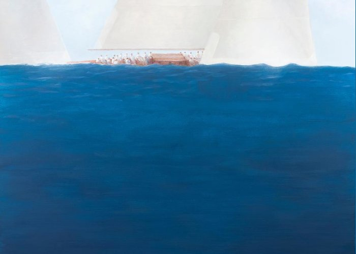 Yacht; Yachts; Sea; Boat; Boating; J-class; Sail; Sailing; Sails; Solent; The Solent; Boat Greeting Card featuring the painting J Class Racing The Solent 2012 by Lincoln Seligman