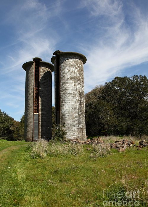 Sonoma Greeting Card featuring the photograph Jack London Ranch Silos 5d22161 by Wingsdomain Art and Photography