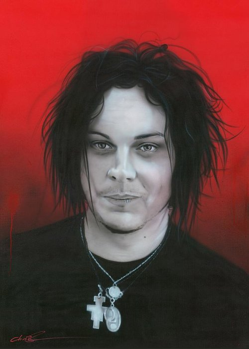 The White Stripes Greeting Card featuring the painting 'jack White' by Christian Chapman Art