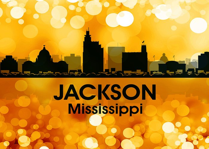 Jackson Greeting Card featuring the mixed media Jackson Ms 3 by Angelina Vick