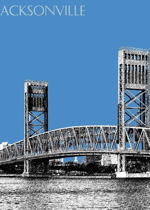 Architecture Greeting Card featuring the digital art Jacksonville Skyline 2 Main Street Bridge - Slate Blue by DB Artist