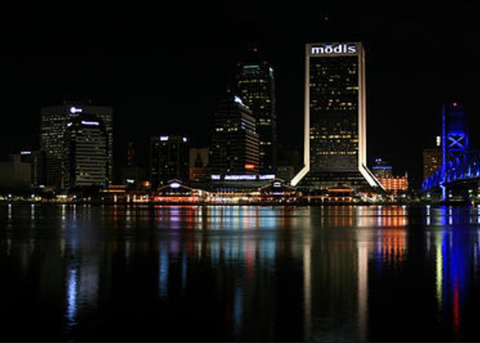 Jacksonville Greeting Card featuring the photograph Jacksonville Skyline At Night by Georgia Fowler