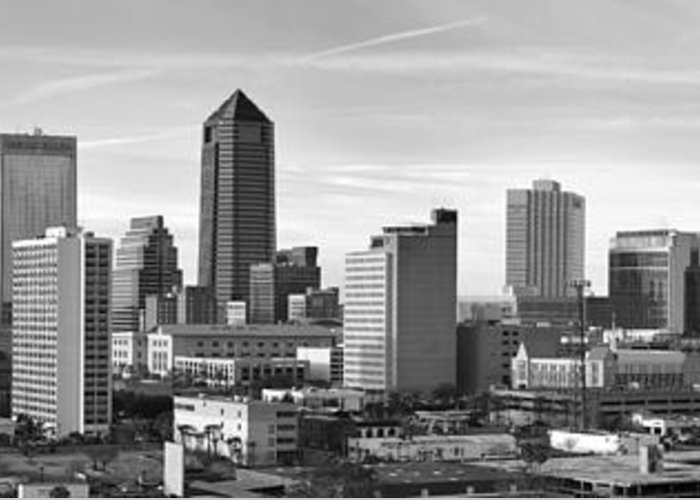 Jacksonville Skyline Greeting Card featuring the photograph Jacksonville Skyline Morning Day Black And White Bw Panorama Florida by Jon Holiday