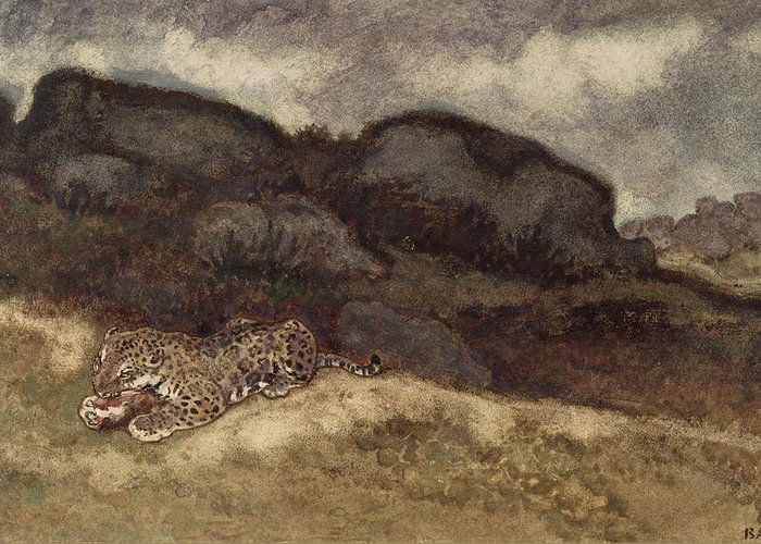 Jaguar Devorant Une Proie; Bird; Catch; Cat; Panther; Animal; Eating; Manger Greeting Card featuring the painting Jaguar Devouring Its Prey by Antoine Louis Barye