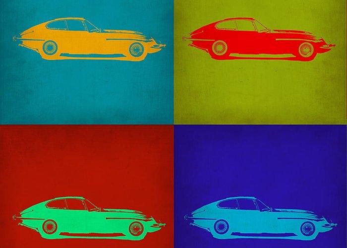 Jaguar E Type Greeting Card featuring the painting Jaguar E Type Pop Art 1 by Naxart Studio
