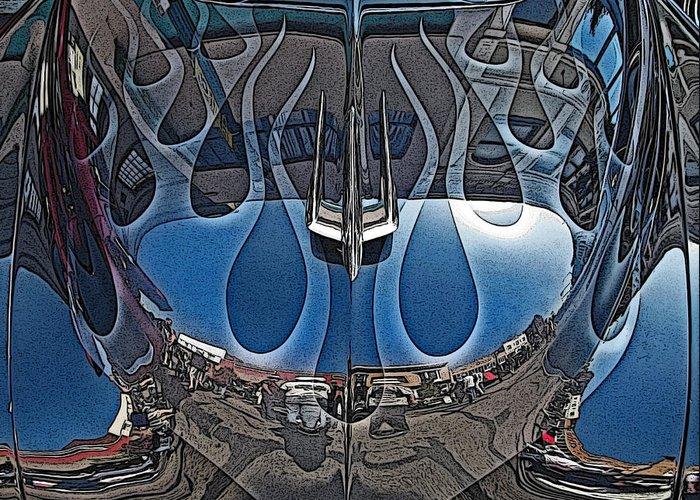Jalopy Hood Reflections Greeting Card featuring the photograph Jalopy Hood Reflections by Samuel Sheats