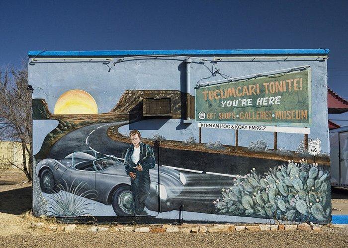 James Dean Greeting Card featuring the photograph James Dean Mural In Tucumcari On Route 66 by Carol Leigh