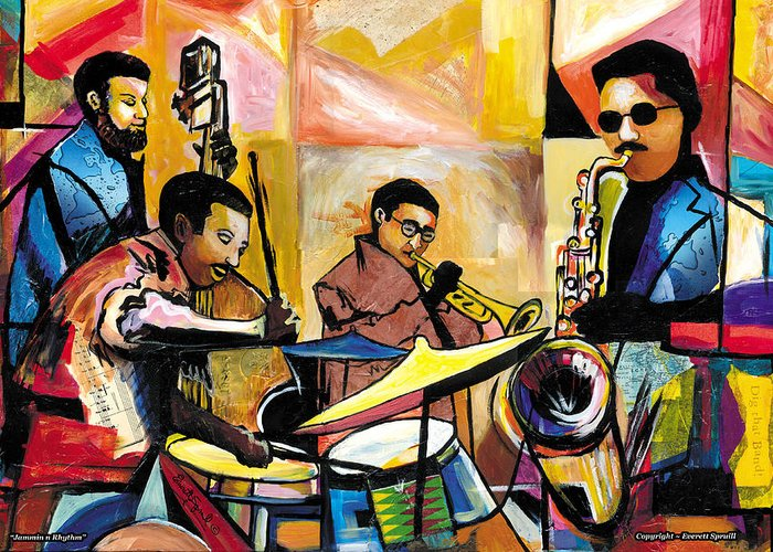 Jazz Greeting Card featuring the painting Jammin N Rhythm by Everett Spruill