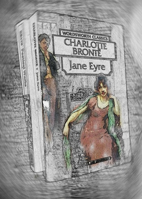 Jane Eyre Greeting Card featuring the painting Jane Eyre Book Abstract by Nik Helbig