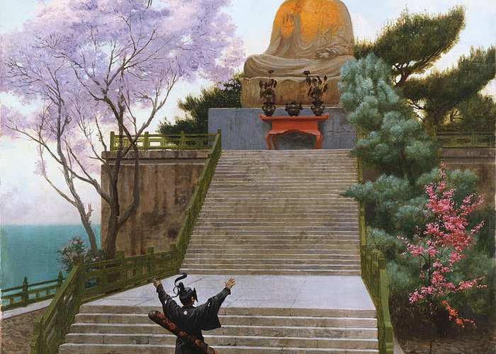 Japan Greeting Card featuring the painting Japanese Imploring A Divinity by Jean Leon Gerome