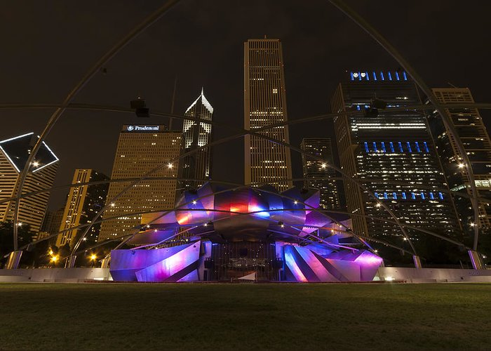 3scape Photos Greeting Card featuring the photograph Jay Pritzker Pavilion Chicago by Adam Romanowicz