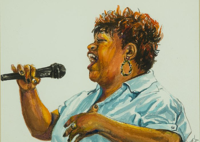 Jazz Singer Greeting Card featuring the painting Jazz Singer by Sharon Sorrels