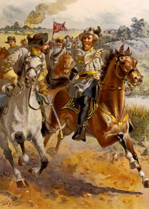Henry Alexander Ogden Greeting Card featuring the digital art Jeb Stuart Civil War by Henry Alexander Ogden