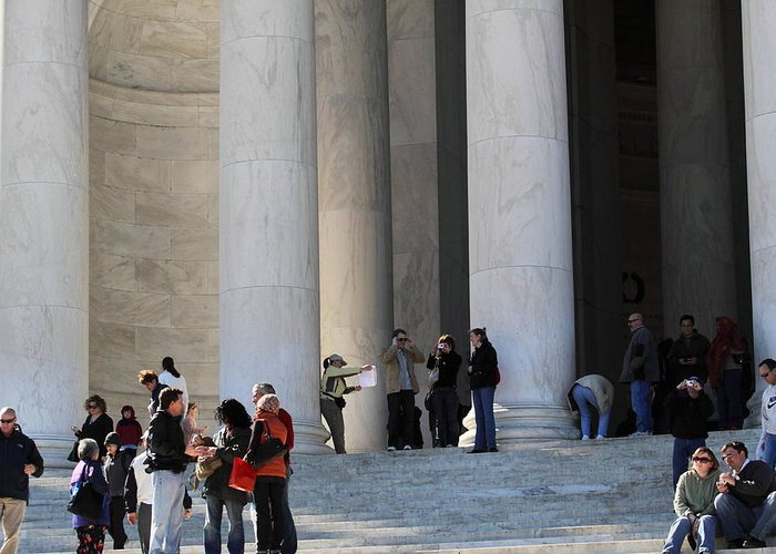 America Greeting Card featuring the photograph Jefferson Memorial - Washington Dc - 01132 by DC Photographer