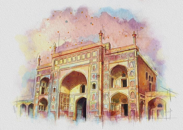 Pakistan Greeting Card featuring the painting Jehangir Form by Catf
