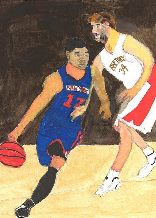 Ny Knicks Greeting Card featuring the painting Jeremy Lynn The Amazing by Nat Solomon