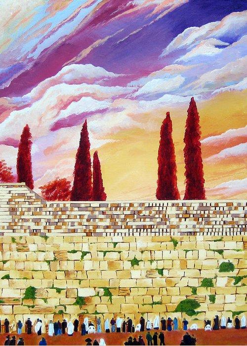 Jerusalem Greeting Card featuring the painting Jerusalem Prayers by Dawnstarstudios