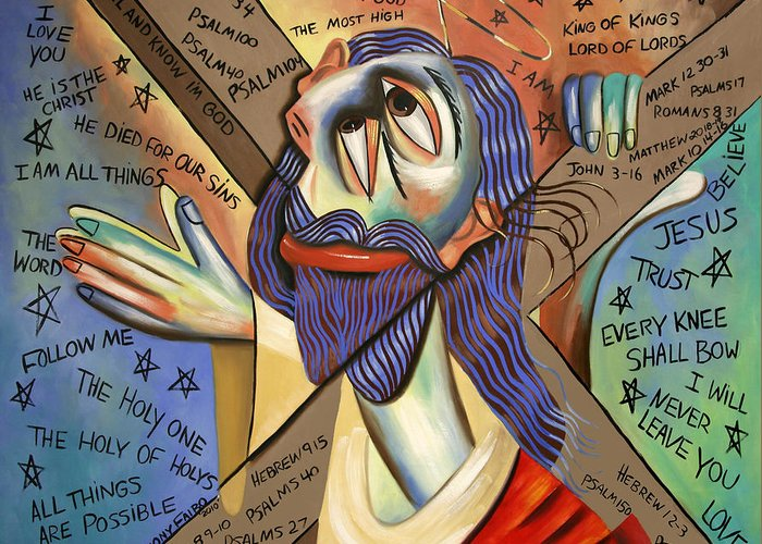 Jesus Greeting Card featuring the painting Jesus by Anthony Falbo