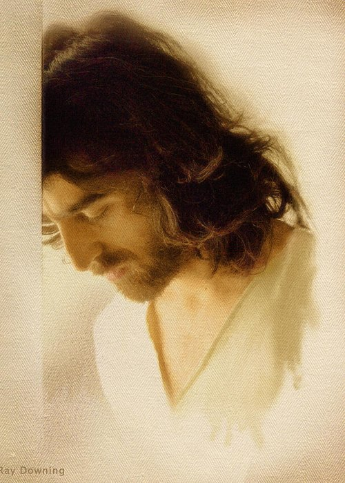 Jesus Greeting Card featuring the digital art Jesus Praying by Ray Downing