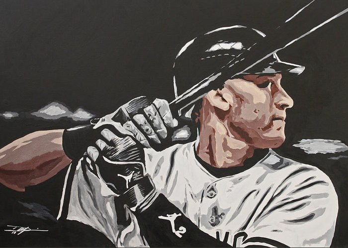 Jeter Greeting Card featuring the drawing Jeter by Don Medina