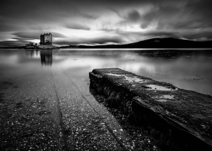 Castle Stalker Greeting Card featuring the photograph Jetty To Castle Stalker by Dave Bowman