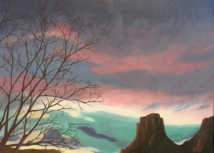 Sedona Greeting Card featuring the painting Jewels In The Sky by Janis Mock-Jones