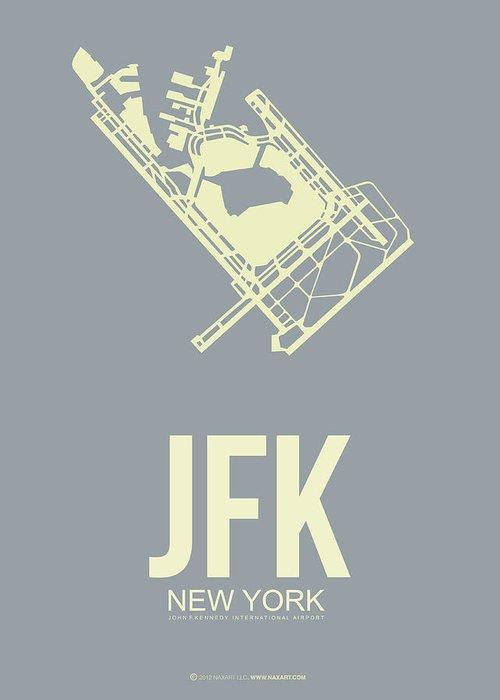 New York Greeting Card featuring the digital art Jfk Airport Poster 1 by Naxart Studio