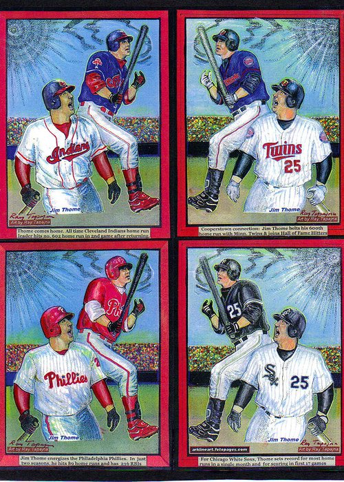 Jim Thome Greeting Card featuring the mixed media Jim Thome Hits 600th Home Run by Ray Tapajna