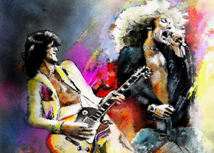 Musicians Greeting Card featuring the painting Jimmy Page And Robert Plant Led Zeppelin by Miki De Goodaboom