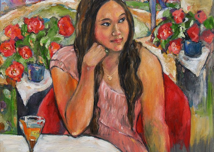 Oil Painting Greeting Card featuring the painting Jinny In Pink Dress by Becky Kim